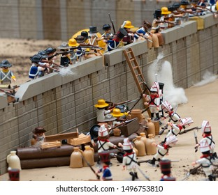 ( Girona, Spain, 11/10/18) El Alamo battle mexican-texan war, playmobil exhibition.