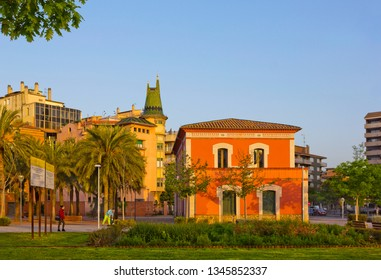 Girona, Spain - April 25, 2018: Cityscape with historical building at the Railway Square