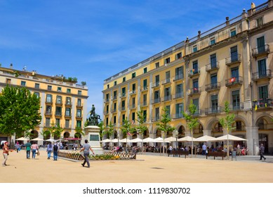 GIRONA, SPAIN - APRIL 28, 2018: Independence Square with monument, which commemorates the struggle against the French in 1808 – 1814