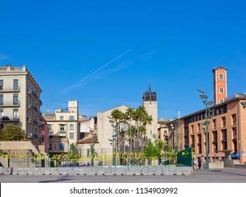 GIRONA, SPAIN - APRIL 28, 2018: Santa Susanna del Mercadal Church seen from Sanat Susann square