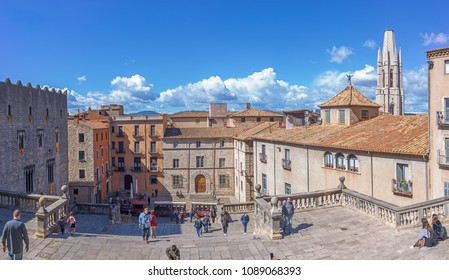 GIRONA, SPAIN March 18:  Cathedral Square and famous stair are the most visited attraction in Girona. March 18, 2018 in Girona, Spain