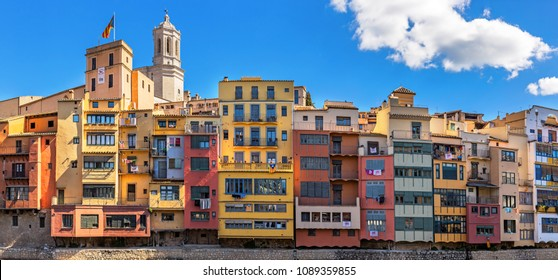 GIRONA, SPAIN, March 18: Famous colorful houses over Onyar River  in Girona. March 18, 2018 in Girona, Spain