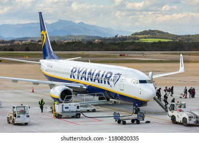 Girona, Spain - March 29, 2018: Ryanair airline airplane Boeing 737 in Girona airport in sunny day