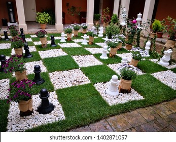 Girona, Spain. May 19th 2019: Girona Flower Festival. Large scale chess game board made out of flowers and herbs.