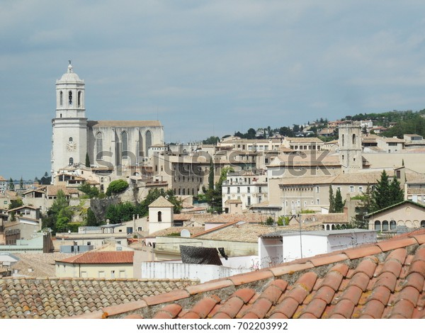 GIRONA, SPAIN - SEPTEMBER 12, 2013: View of the old city from the fortress wall.  In the background is the Cathedral.