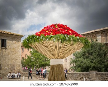 GIRONA,SPAIN-MAY 12,2014:Street decorated with flowers in Historic center, spring festival flower,temps de flors.