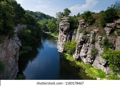 Girskiy Tikych river carved beautiful canyon in the heart of Cherkassy region, Ukraine