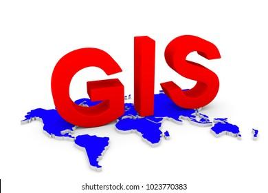GIS world map conceptual white background 3d illustration