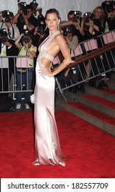 Gisele Bundchen, wearing a Versace gown, at Superheroes Fashion and Fantasy Gala, Metropolitan Museum of Art Costume Institute, New York, NY, May 05, 2008