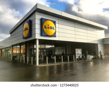 GISTEL, BELGIUM - JANUARY 03, 2019: Lidl food supermarket, corner building