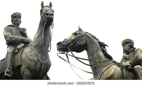 Giuseppe Garibaldi (1807-1882) general, hero of Italian unification on horseback - Bronze statue (1893) sculptor Augusto Rivalta. Ferrari square, Genova, Italy