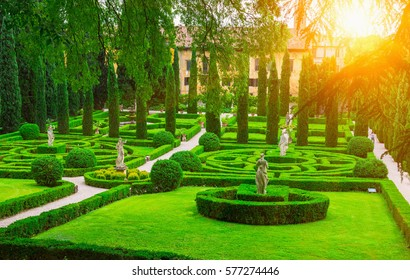 Giusti garden in Verona, Italy. Architecture and landmark of Verona. Postcard of Verona