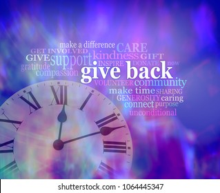 GIVE BACK some time  - vibrant blue purple modern art effect background with a clock face bottom left and a GIVE BACK word tag cloud above