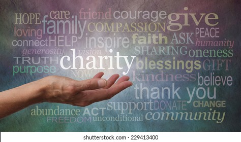 Give to Charity Banner - Woman's outstretched open hand with the word 'charity' in white above palm, surrounded by charity related words on a rustic blue and purple stone effect background