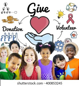Give Donations Volunteer Welfare Support Concept