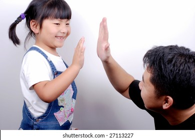 give me five, adult and child
