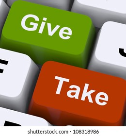 Give Or Take Keys Showing Compromising Differences To Reach Agreement Or Business Resolution. Keyboard Means Online Negotiation, Conflict And Discussion.
