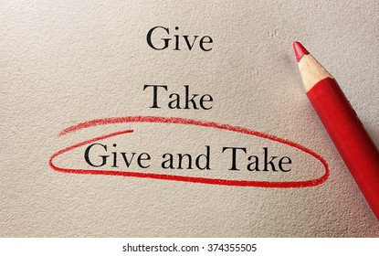 Give and Take red pencil circle on textured paper -- compromise concept