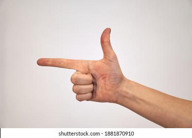 Give two. Right palm Caucasian female hand shows fingers and the thumb is bent. Hand brush on a white background.