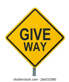 give way yellow road sign on white background