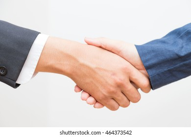 Give your hand for shaking with me, Business sign on white