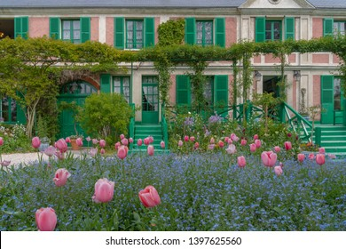 Giverny, France - 05 07 2019: The gardens of Claude Monet in Giverny. Facade of the Monet's house