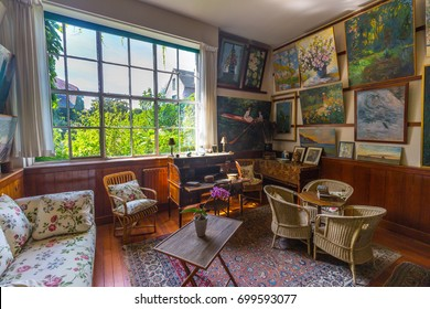 GIVERNY, FRANCE - 14 AUGUST 2017: Interior of Claude Monet's home in Giverny, Normandy, France