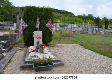 GIVERNY, FRANCE - AUG 5:  A memorial to seven British airmen whose plane crashed nearby during world war II at Saint-Radegonde Church in Giverny, France on August 5, 2016.