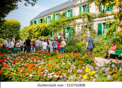 GIVERNY, FRANCE - September 03, 2017: House and garden of Claud Monet with tourists, famous french impressionist painter in Giverny town in France