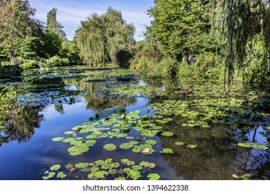 GIVERNY, FRANCE - SEPTEMBER 24, 2016: Beautiful Claude Monet's Garden in Giverny. Iconic water lilies pond in Monet garden.