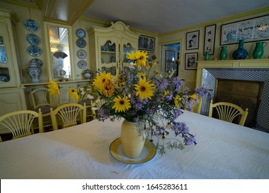 GIVERNY, NORMANDIE, FRANCE - OCTOBER 10, 2019: Interior of Claude Monet's House, famous french impressionist painter in Giverny village.