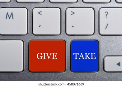 """GIVE/TAKE"" Word on Keyboard, Antonym Concept"
