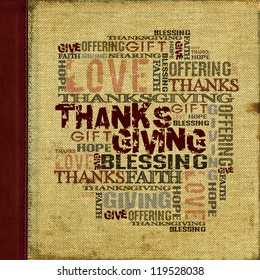 Givind Thanksgiving Blessing  Background  Canvas with dark red leather strip and stitching