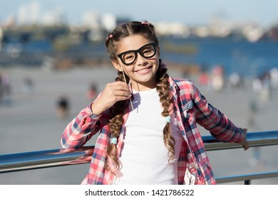da2e517d92c1 Giving every child a happy childhood. Adorable little girl with happy smile  and funny look