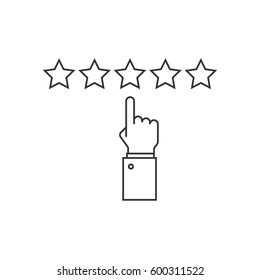Giving five stars rating line icon on white background
