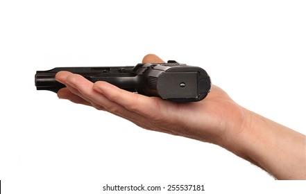 Giving a gun,surrender concept.Peace concept.Surrender concept.