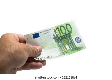 giving hand 100 euro banknote