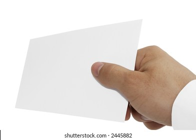 Giving hand with empty card, isolated