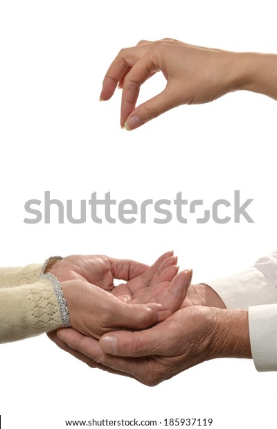 Giving hands closeup isolated on white background