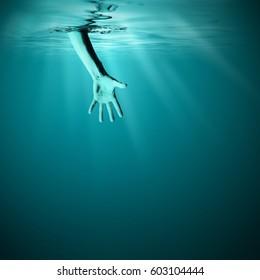 Giving helping hand in sea underwater