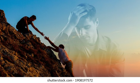 Giving a helping hand to someone in need. With sad depressed man