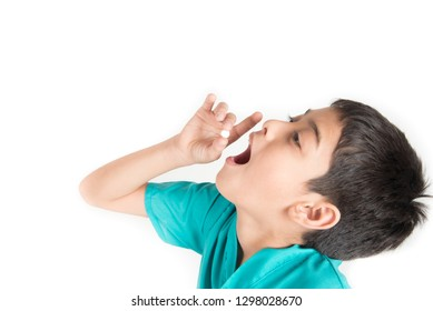 Giving kids medicine, boy try to swallow pills medicine