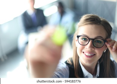 Giving presentation executive business woman pointing