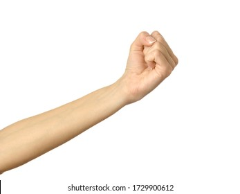 Giving, reaching or holding hand. Woman hand with french manicure gesturing isolated on white background. Part of series