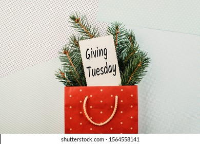 Giving Tuesday concept. Minimal flat lay with handwriting text Giving Tuesday in red gift bag and fir tree branches on pastel background