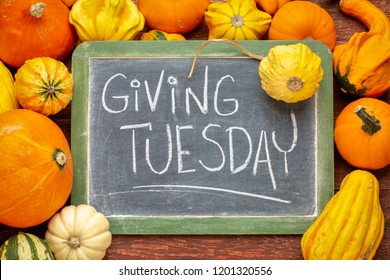 Giving Tuesday  - white chalk handwriting on a slate blackboard surrounded by winter squash and gourds