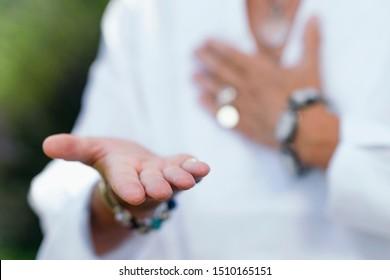 Giving Virtue Practice. Hand Gesture.