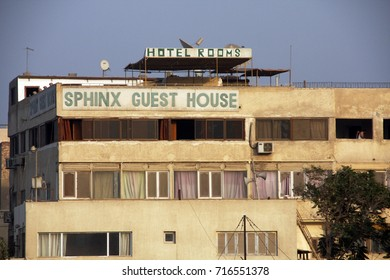 Giza, Cairo, Egypt - November 7, 2009: Sphinx Guest house - best view to The Great Pyramid complex