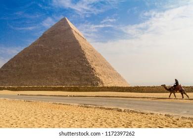Giza, Cairo/Egypt - November 22, 2016: The great Giza Pyramids