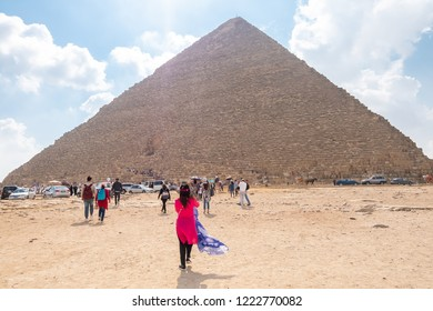 Giza, Cairo/Egypt - October 12, 2018 : General view of pyramids from the Giza Plateau